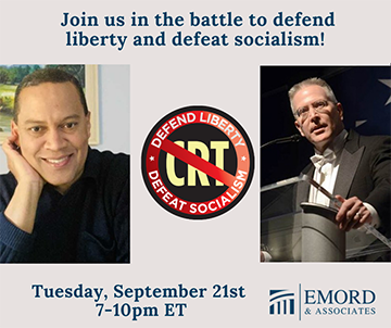 Live Event: The Authoritarians & Critical Race Theory by Jonathan Emord. Sept 21, 2021 6:30PM EST